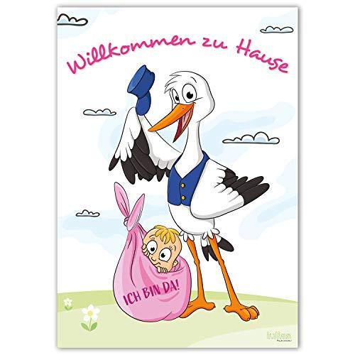 Willkommen zu Hause Baby und Mama - Großes DIN A2 Poster zur Geburt - Begrüßungs-Plakat mit Storch nach der Geburt eines Mädchens/Tochter