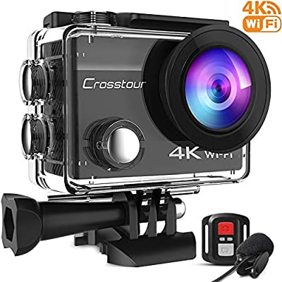 Crosstour CT8500 4K 20MP Action Camera External Microphone PC Webcam WiFi vlogging Camera EIS Waterproof 40M with Remote Control and Mounting Accessories Kit from Crosstour