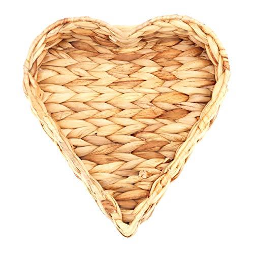 Decorasian Herz Korb Tablett in Herzform geflochten aus Seegras - Wasserhyazinthe 26cm