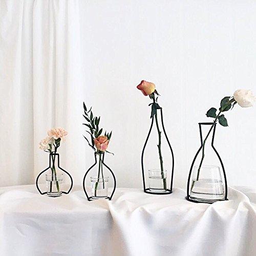 Treasure-house Pichet en métal Vase de fleurs avec vintage Bird décoratifs en fer forgé, manuel plantes Vase, B