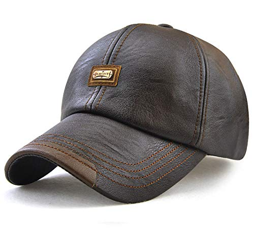Men's Classic Plain Adjustable Leather Baseball Cap Sports Outdoor Panel Hat Sun Hat Dark Brown