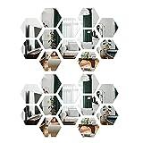 24Piezas Espejos Pegatinas Espejo de Acrílico Hexagonales Desmontable Pegatina de Pared para Hogar Sala de Estar Dormitorio