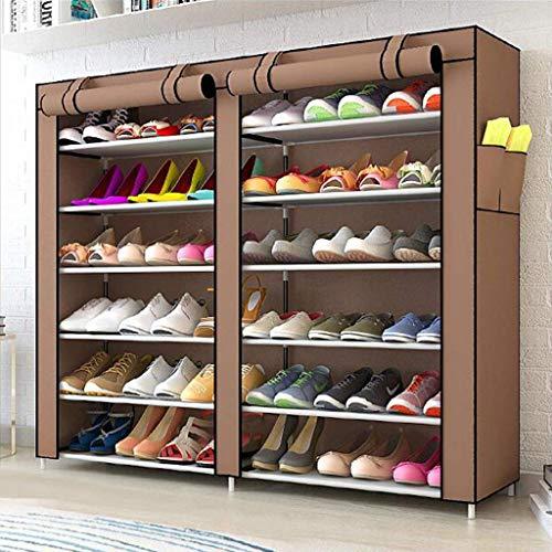 Estante de zapatos, Zapatos a prueba de polvo Gabinete Zapato Rack de 6 niveles Polvo a prueba de polvo Oxford Paño Zapatos Rack sobre Puerta Organizador de almacenamiento con cremallera, 120 x30 x110
