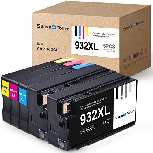 SWISS TONER Kompatibel für HP 932XL 933XL Multipack Tintenpatronen für HP Officejet 6100 6600 6700 7110 7510 7512 7610 7612 Drucker (2Schwarz/Cyan/Magenta/Gelb)