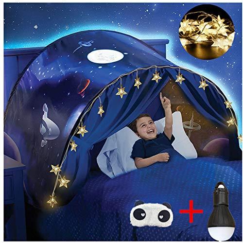 FLAYOR Dream Tents Tente De Lit Enfant,Tente Tunnel Enfants,Tente Enfant Pliable Pop Up,Tente De Lit avec LED, Tente De Jeu avec Lumiere,Cadeau d'anniversaire De Noël (Marche dans l'espace)