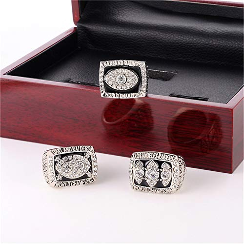 Jiustars Oakland Raiders 3 Years 1976 1980 1983 Super Bowl Championship Replica Rings Set with Display Wooden Box (with Box,9)
