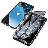 Jonwelsy Funda para iPhone 11 Pro MAX (6,5 Pulgada), Adsorción Magnética Parachoques de Metal con 360 Grados Protección Case Cover Transparente Ambos Lados Vidrio Templado Cubierta (Negro)