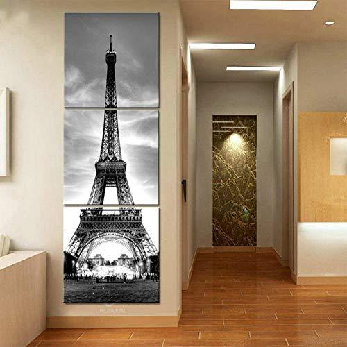 Escandinavo Cuadros París Arte Lienzo Torre Eiffel Pintura 3 Panel Pinturas en la Pared Decoración Pinturas Niños Cartel HD Imprimir 60x60cmx3 Sin Marco