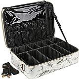 DEAYOU Travel Makeup Case Bag, Large Marble Makeup Train Case, 3-Layer Portable Storage Bag with Adjustable Dividers and Shoulder Strap for Professional, Makeup Brushes, 15