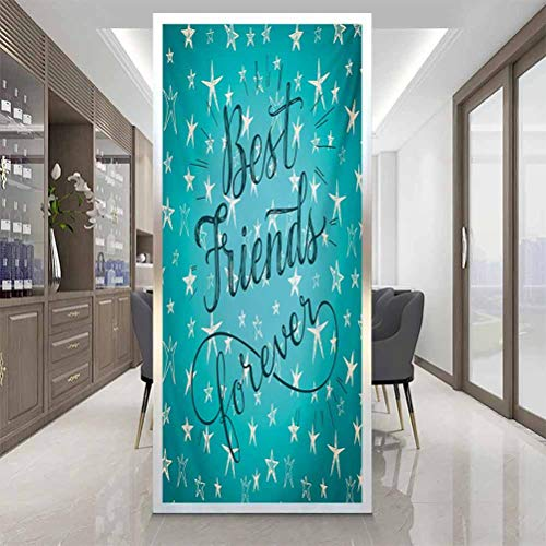 Room Darkening Window Film, Quote Best Friends Forever Message on Scribbled and Hat, Home Window Tint Film Heat Control, W23.6 x H78.7 Inch