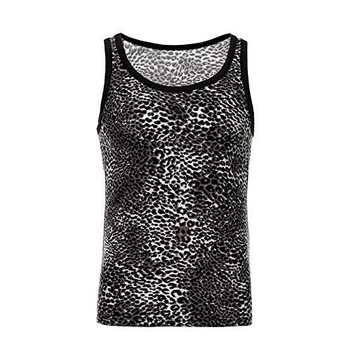 Swbreety Men's Sexy Leopard Print Vest Breathable Sleeveless Tank Top Shirts Black