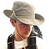 TOSKATOK UPF 50+ Unisex Safari Outback Australischer Buschhut mit breiter Krempe, Kinnriemen, seitlichen Druckknöpfen und Lüftungsschlitzen, aus Baumwolle-Stone
