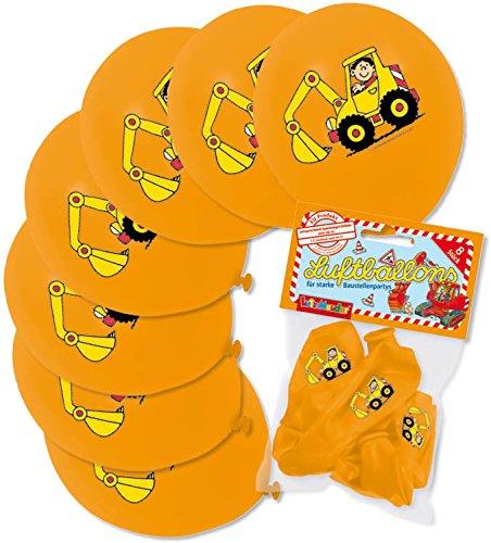 Mauder 8 Luftballons * Bagger * als Baustellen-Deko für Kindergeburtstag oder Mottoparty von Lutz 66027 // Party Kinder Party Ballon