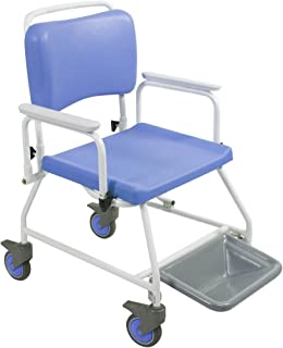 Homecraft Atlantic Bariatric Commode Shower Chair, 510 mm with Footrests, Wheeled Bathroom Chair for Elderly, Disabled, Handicapped, Bathroom Aid for Mobility and Convenience, Hygenic and Durable