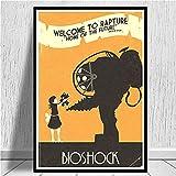 LGYJAL Bioshock Rapture Videojuego Retro Kids Gift Art Canvas Painting Cuadro de Pared Decoración para el hogar Carteles e Impresiones 50x70 cm A-1494