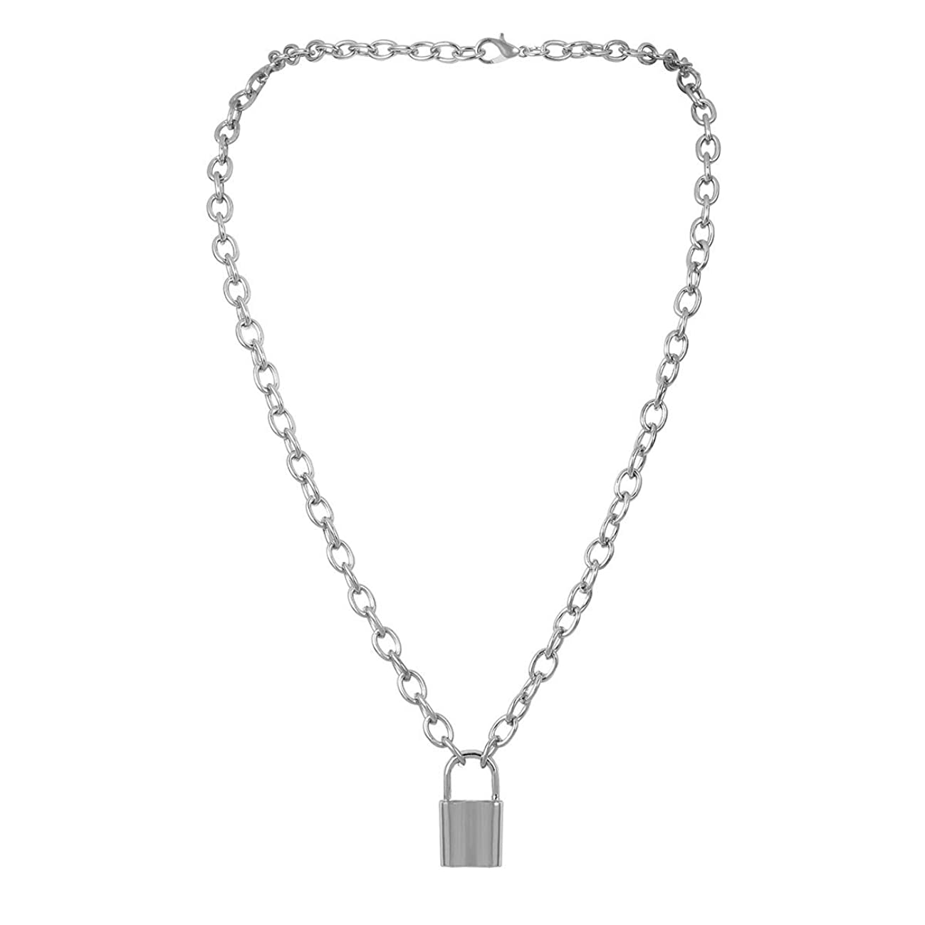 Krun Lock Necklace Y Pendant Simple Cute Necklaces Long Multilayer Chain Fashion Jewelry Women Girls Gift for Her