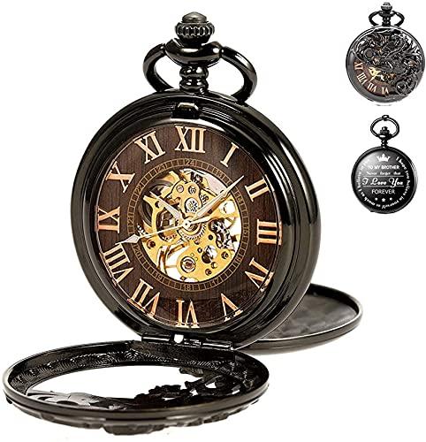 EURYTKS Reloj de Bolsillo Grabado Personalizado Esqueleto Cadena mecánica para Hermano Regalo cumpleaños graduación Navidad Regalo de Acción de Gracias