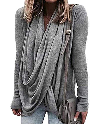 UpBeauty Women Casual Long Sleeve T-Shirt Turtleneck Irregular Hem Pullover Knits & Tees Gray