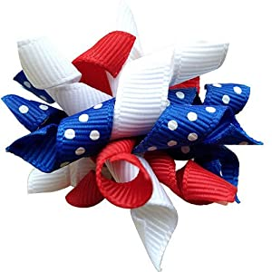 Masue Pets 10pcs/Pack US Independence Day Dog Hair Bows Curves Rubber Bands The Forth of July Pet Grooming Products Accessories