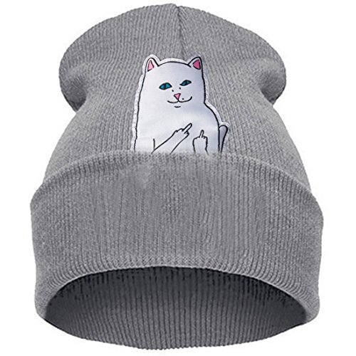Belsen Damen aufrecht Mittelfinger Katze Hiphop Beanie Strick Mütze Skull Cap (grau)