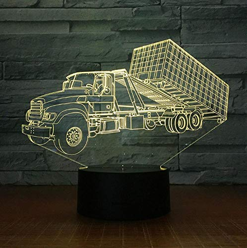 Container Anhänger Lkw 3D Stereo Lampe Schlafzimmer Led Atmosphäre Kreative Nachttisch Leuchten Usb Nachtlicht Kinder Geschenk Weihnachtsgeschenk
