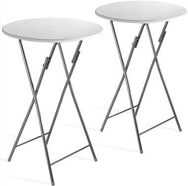 Casaria Set de 2 Tables Hautes Pliables Blanc Ø 60cm métal décor en Bois Plateau Table MDF Table de Jardin Bar Bistrot Balcon