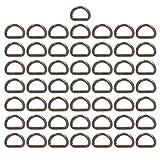 BIKICOCO - Hebilla de anillas en D de metal, 1,5 x 1 cm, no soldada, para coser bricolaje - Gunmetal - 50 piezas
