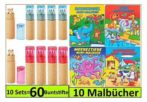 Libetui 10 Set Malbücher mit Buntstiften Anspitzer Malbücher Kinderbeschäftigung Zuhause Malset für Kinderparty Hochzeit Restaurant Geschenk für Kinder (Rot-Blau)