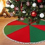 Angel&H 48 Pulgadas Cubierta Inferior de La Falda del Árbol de Navidad, Falda del Árbol Rojo y Verde con Pompones, Decoración Creativa de la Fiesta de la Alfombra del Árbol de Navidad