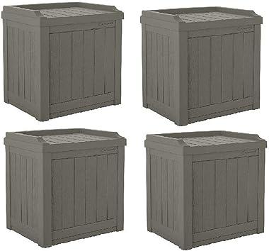 rianiq07 22 Gallon Small Resin Patio Storage Deck Box and Seat, Stoney (4 Pack)