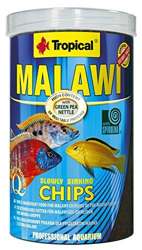 Tropical Malawi Mbuna Chips für Malawisee-Cichliden der Mbuna-Gruppe - zutatenreiches Futter, langsam sinkender Chips für die tägliche Fütterung - 1000ml/520g