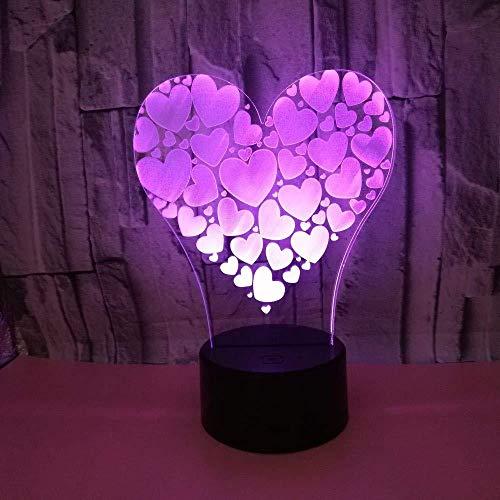 Veilleuse 3D LED Love Night Light Acrylique Visible Night Light Creative USB Lampe de Table Éclairage Chambre Lampe Décoration Cadeau De Noël Pour Enfants