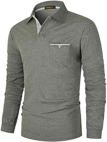 GNRSPTY Polo Manga Larga Hombre Algodon Slim Fit Camisetas Colores de Contraste con Bolsillos Reales Basic Golf Deporte Negocios T-Shirt Top,Gris,XL