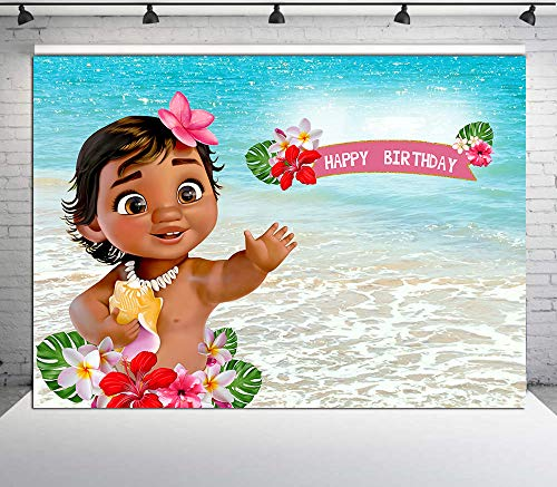 RUINI Baby Moana Backdrop Summer Sea Blue Water Photography Backdrop Baby Shower Party Table Decoration 7x5FT
