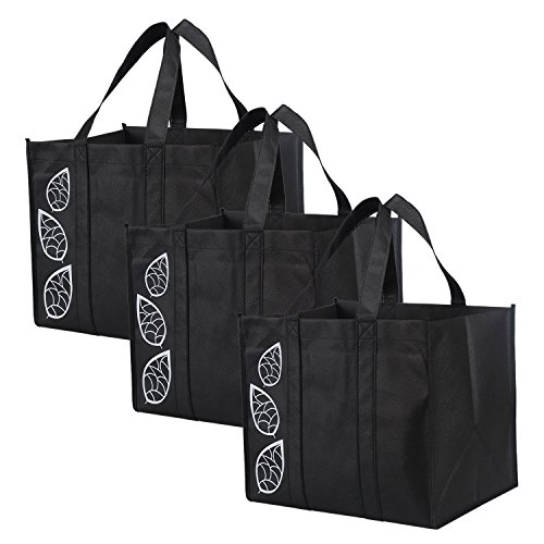Bekith 9 Pack Reusable Grocery Bags, Large Heavy Duty Collapsible Shopping Bags, Grocery Tote Bags with Reinforced Handles For Shopping Groceries Clothes Vegetables Fruits, Black