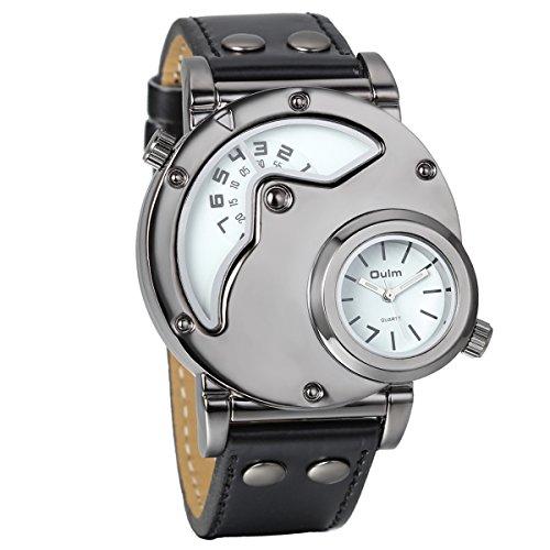 Reloj de pulsera de cuarzo analógico informal Avaner para hombre con esfera grande de dos husos horarios y correa de piel sintética negra