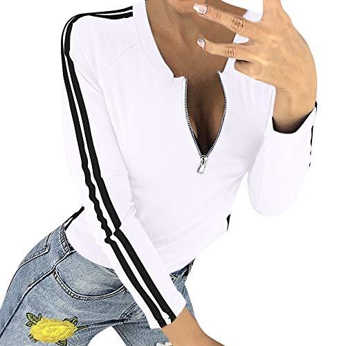 Damen Oberteile MYMYG Frauen-reizvolle Reißverschluss-öffnende O-Ansatz Gestreifte Lange Hülsen-T-Shirt Spitzenbluse Herbst und Winter Sweatshirt(Weiß,EU:38/CN-L)
