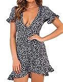 Relipop Women's Dresses Floral Print Deep V-Neck Short Bell Sleeve Ruffle Wrap Tie Knot Fishtail Short Dress Black