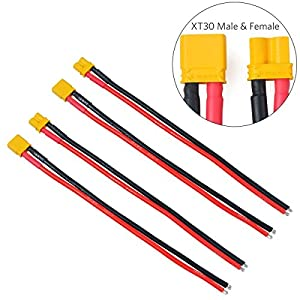 FancyWhoop 2Pairs XT30 Plug Male Female Connector with 150mm 16AWG Silicone Wire for RC LiPo Battery FPV Drone (XT30 Male Female Connectors)