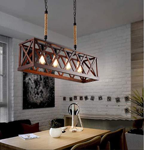 JUNYYANG Lámparas colgantes Lámparas de madera Isla Lineal 4-luz de la tabla de cocina rústico ligero del accesorio de iluminación - restaurante Loft pendiente de la luz de la vendimia
