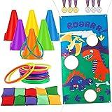 ThinkMax Ring Toss Game Set, Juego de lanzamiento de bolsas de frijoles para cumpleaños, Días deportivos, suministros de juegos al aire libre