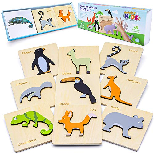 AnvictlyKIDS Wooden Animal Puzzles for Toddlers | 9 Pack | Educational Toys for 2 3 4 Year Old | Montessori Toys for Toddlers | Zoo Wild Animals Tracing | Toddler Learning Activities with Animal Cards