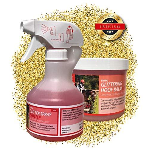 EMMA paardenverzorgingsset kinderen 2-delig I glitterspray (manenspray staartspray) roze + geur voor paard & pony I glitter huffet roze & geur I inhoud poetsdoos I cadeau voor paarden meisjes