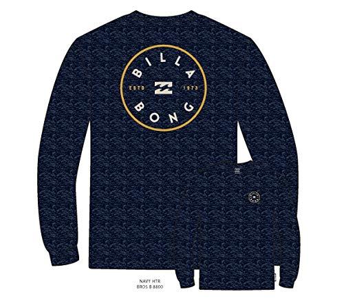 BILLABONG Rotor LS tee Camiseta, Azul (Navy Heather 1227), One Size (Tamaño del Fabricante: S) para Hombre