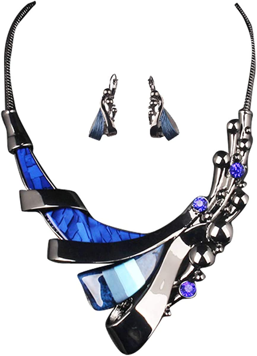 Hamer Women's Blue Gothic Jewelry Charms Choker Necklace and Earrings Wedding Jewelry Sets for Brides Prom Costume Jewelry for Women