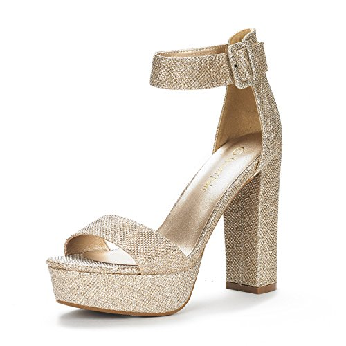 DREAM PAIRS Women's Hi-Lo Gold Glitter High Heel Platform Pump Sandals - 8.5 M US
