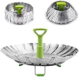 Vegetable Steamer BasketStainless Steel Folding Steamer with Extendable Handle for Veggie/Seafood Cooking/Boiled Eggs - Expandable Adjustable Sizes to fit Various Pots (5.5' to 9')
