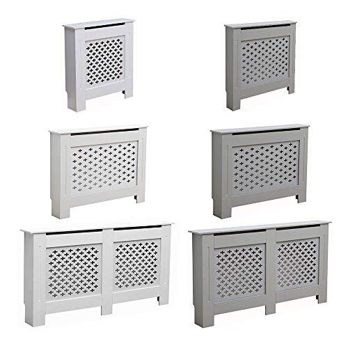 AVC Designs Kensington Radiator Cover Modern MDF Wood White Grey Cross Pattern Living Room Bedroom Hallway Cabinet (Medium White)