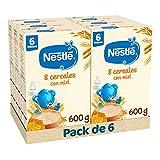 Nestlé Papilla 8 cereales con Miel - Alimento Para bebés - Paquete de 6x600 g - Total: 3.6kg