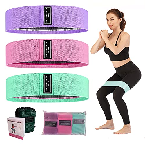 YUKING Booty Bands 3 Resistance Bands for Legs and Butt, Upgrade Thicken Anti-Slip & Roll Elastic Bands for Exercise, Hip Fabric Loop Fitness Set for Women, Workout Beginner to Professional